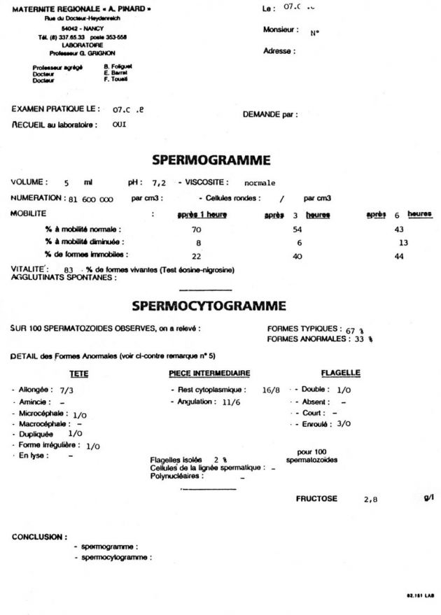 exemple de spermogramme normal