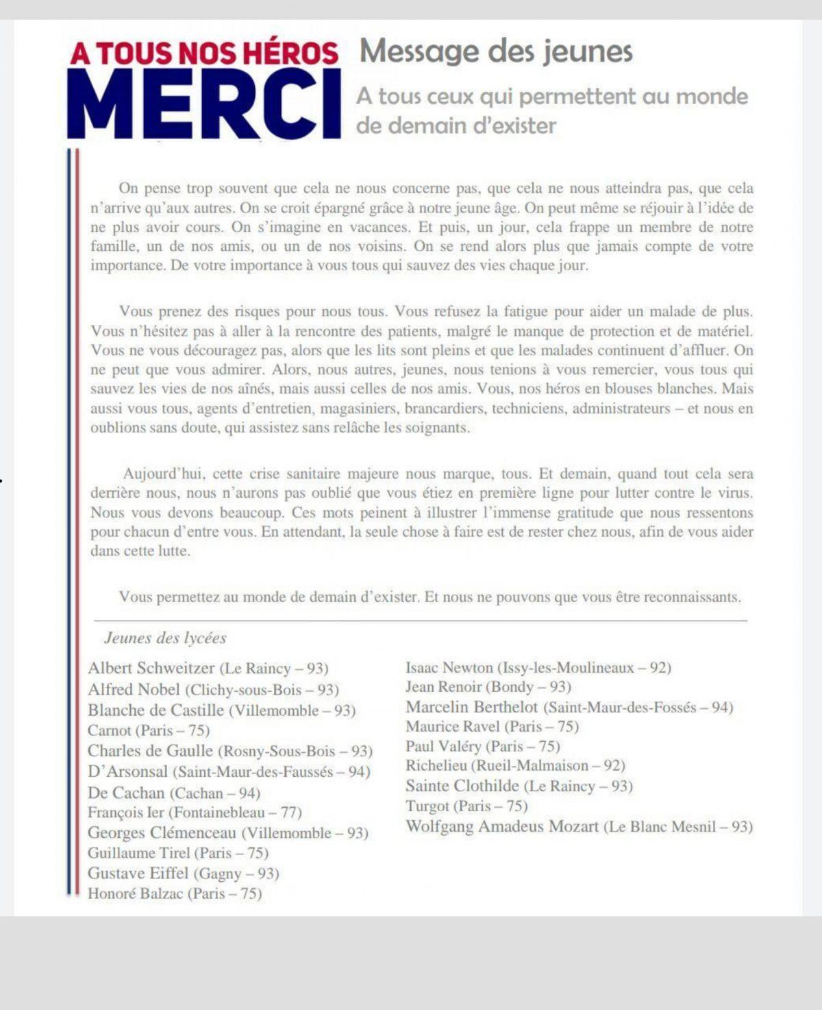 Soutien des lycéens du CAVL Nancy-Metz aux soignants